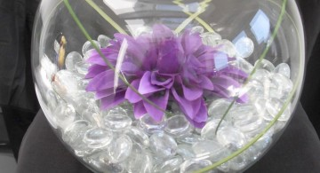 bowl centerpiece ideas with clear crystal and purple flower