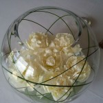 bowl centerpiece ideas with white roses