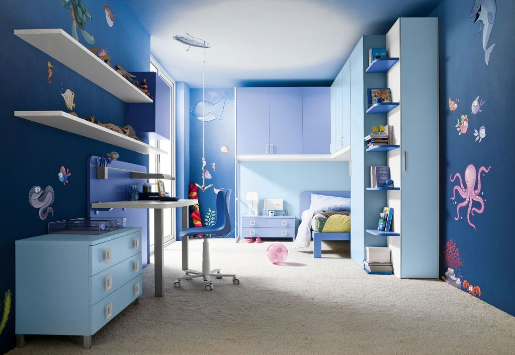 Boys blue room for limited space - Limited space bedroom ideas ...