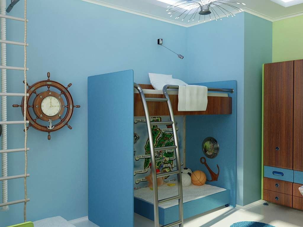 boys blue room with ship wheel