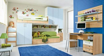 boys blue room with space smart beds and closet