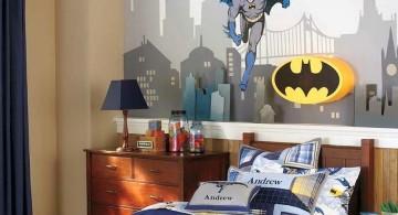 boys room paint ideas with Batman murals