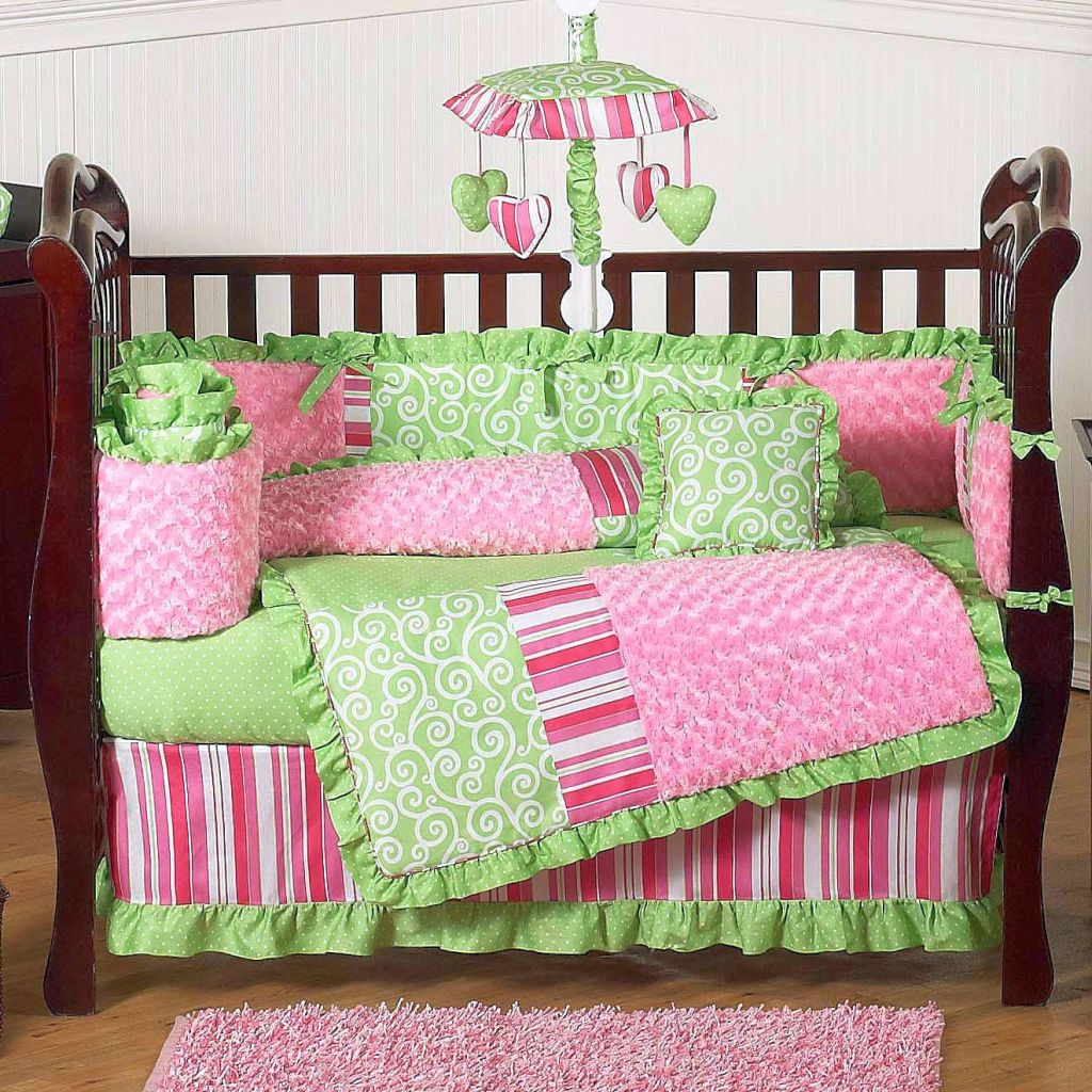 Bright green and pink cute baby girl bedding ideas Baby girl bedding