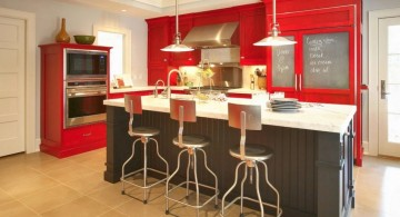 bright red and black popular paint colors for kitchen