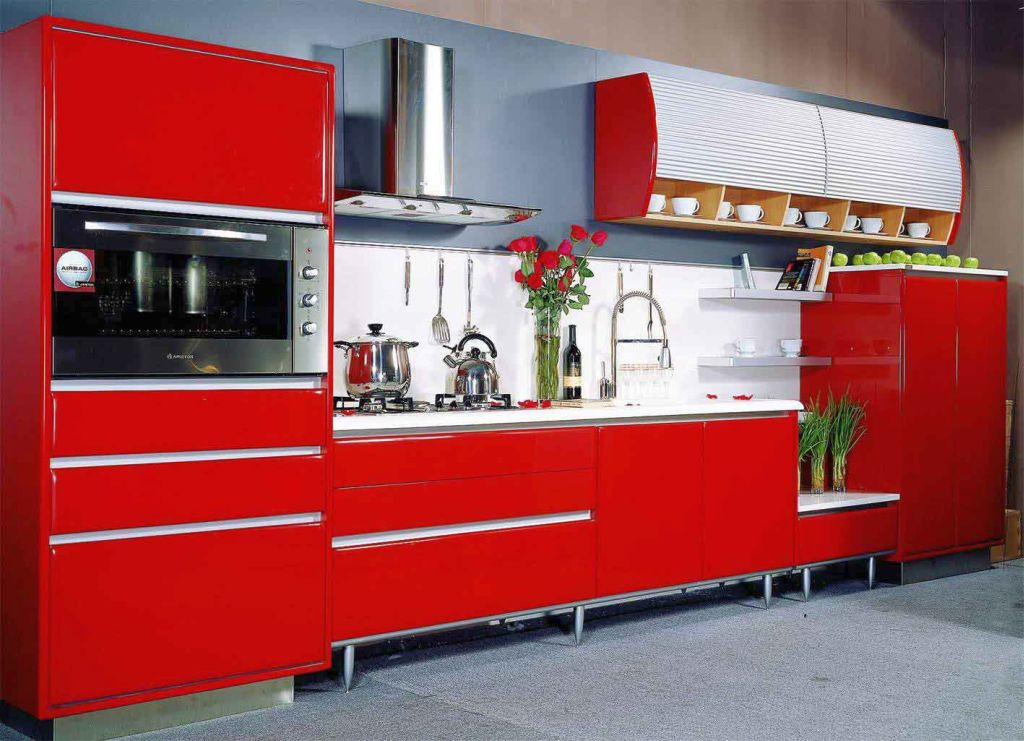 bright red lacquer kitchen cabinet