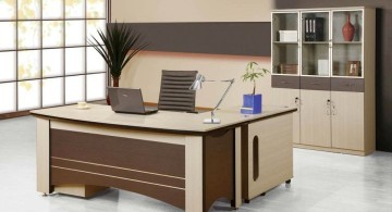 brown and cream sleek office desk