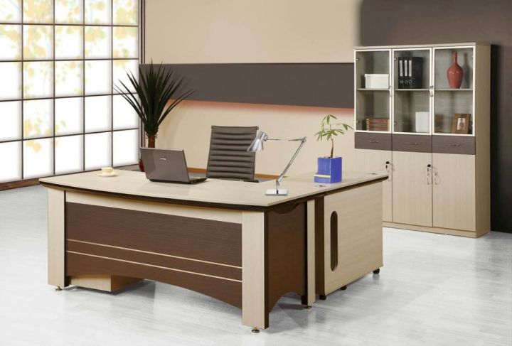 brown and cream sleek office desk