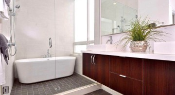 brown bathroom ideas for narrow space