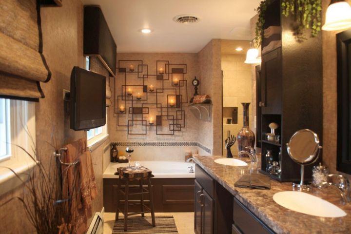 brown bathroom ideas with unique wall piece