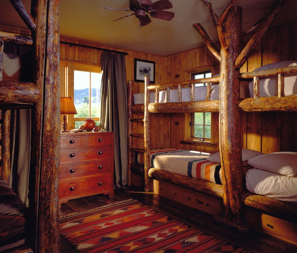 cabin bedroom decorating ideas with bunk beds for lodge. Black Bedroom Furniture Sets. Home Design Ideas