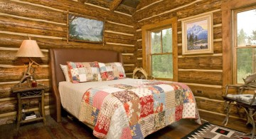 cabin bedroom decorating ideas with colorful homemade quilt