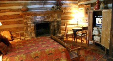 cabin bedroom decorating ideas with small sitting space