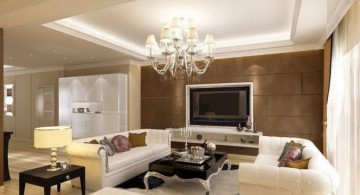 ceiling design ideas for living room with classic chandelier