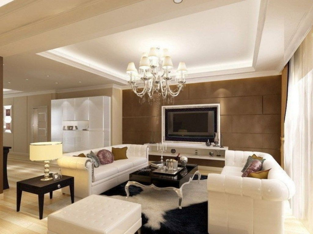 Ceiling design ideas for living room with classic chandelier for Living room designs ceiling