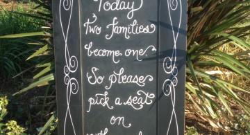 chalkboard writing ideas for wedding sign
