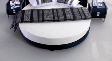 circular bed in monochrome