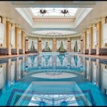 classic indoor swimming pool designs with pillars