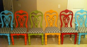 classic multi colored dining chairs