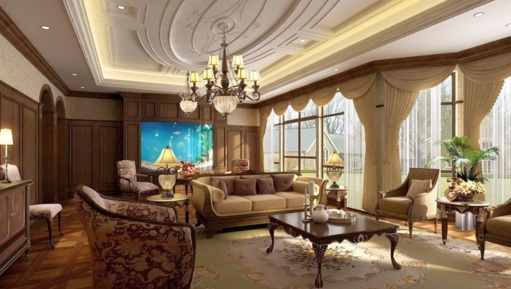 classic oval shaped ceiling design ideas for
