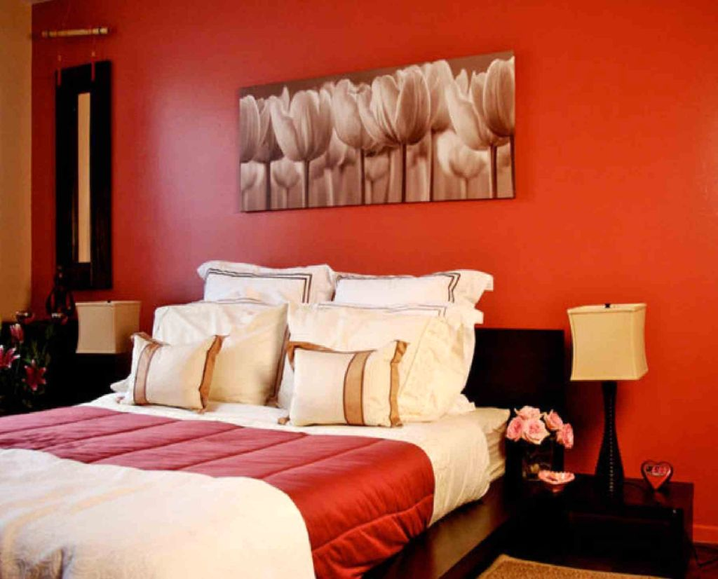 Classy red black and white bedroom ideas with a bit of orange Red black white bedroom ideas