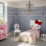 classy with chandelier hello kity girls bedroom designs