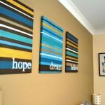 colorful stripes diy bedroom art