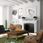colorful upholstery and green rug with modern white fireplace design