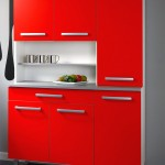 compact red lacquer kitchen cabinet