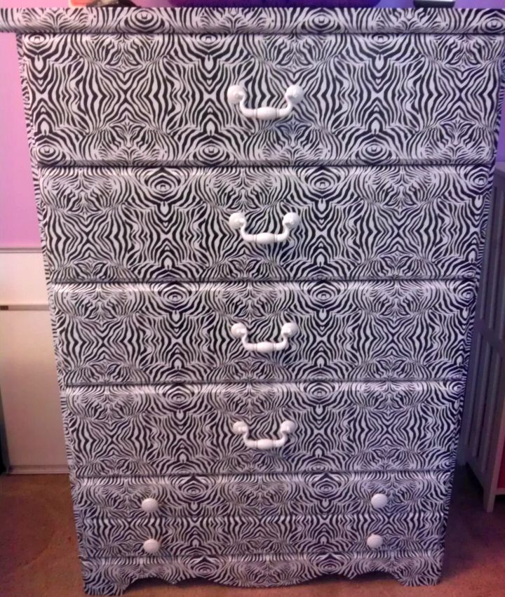 contact paper furniture in Zebra pattern