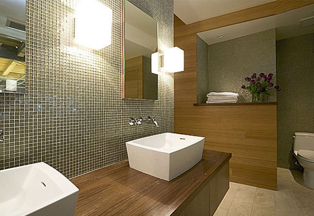 Contemporary bathroom vanity lighting ideas with double sink for Modern bathroom designs