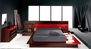 contemporary Zen style red and black bedroom