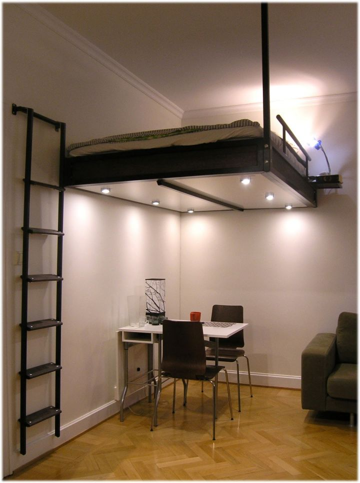 contemporary adult loft bed with stairs for small apartments