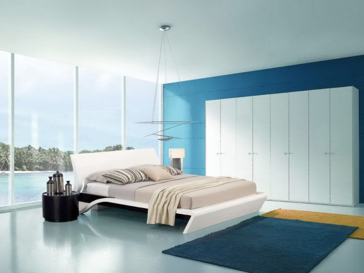 contemporary and minimalist blue and gold bedroom