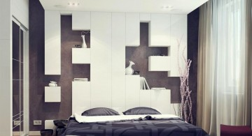 contemporary bedding ideas with headbeds connected to the wall