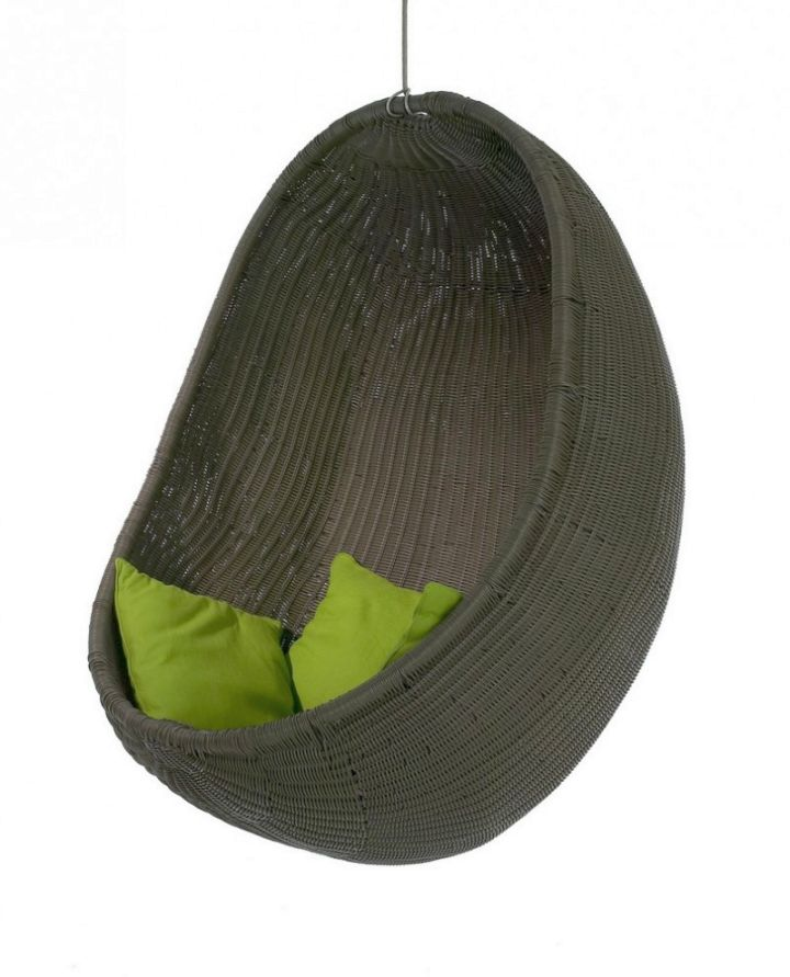 contemporary bedroom swing chair with green cushions