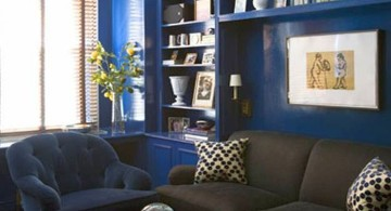 contemporary blue and brown living room