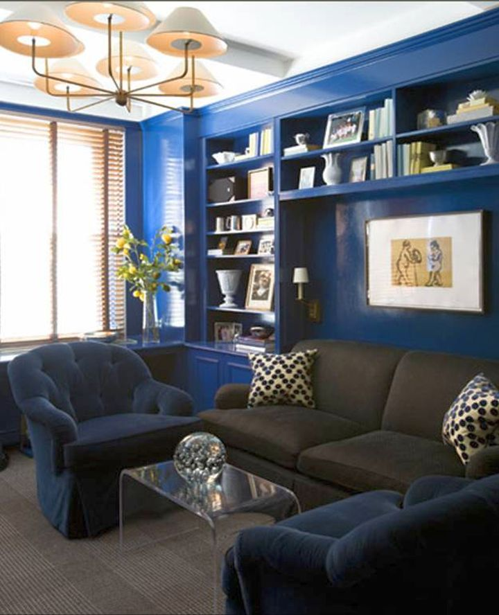 not an usual color palette as people usually avoid a dark blue wall