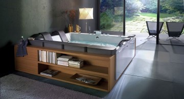 contemporary brown bathroom ideas with double tub