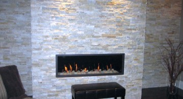 contemporary built in stack stone fireplaces