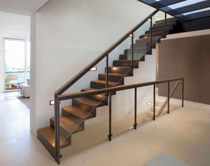 contemporary floating wooden stairs
