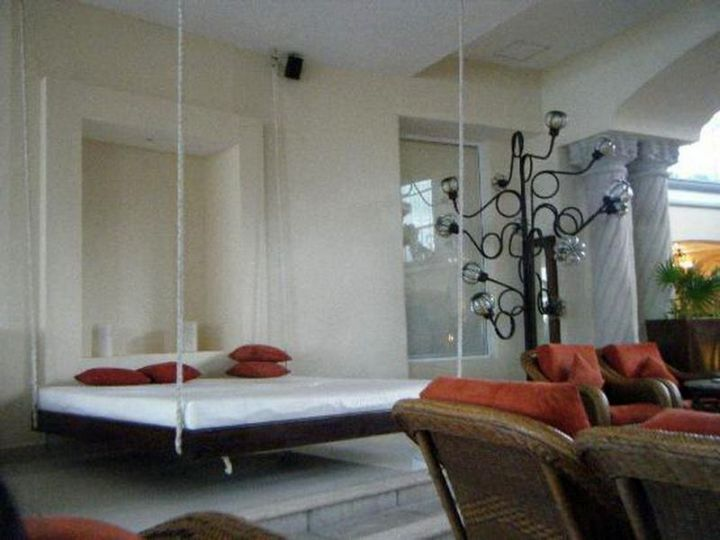 contemporary hanging swing bed