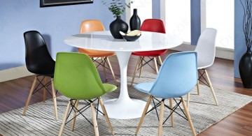 contemporary multi colored dining chairs with round table
