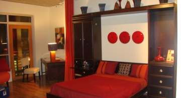 contemporary murphy bed design ideas for small rooms in red and black