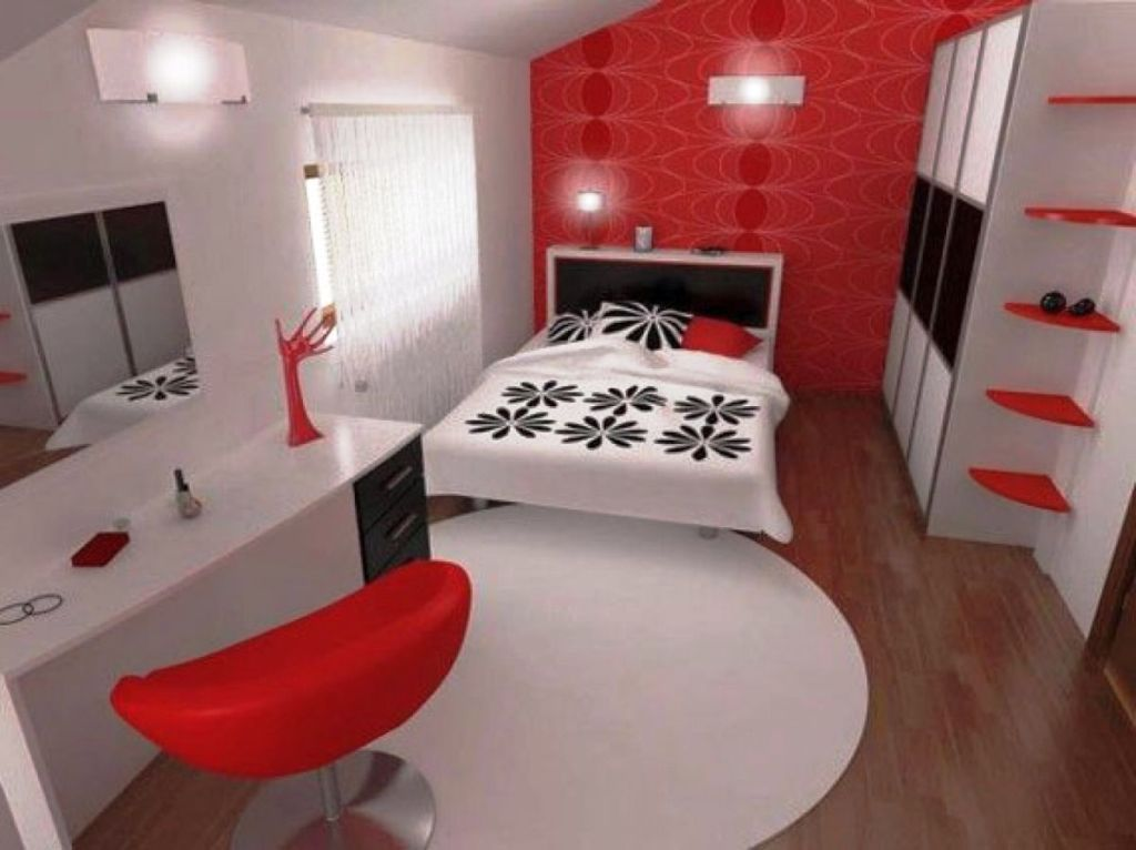Contemporary red black and white bedroom ideas for Red and black bedroom designs