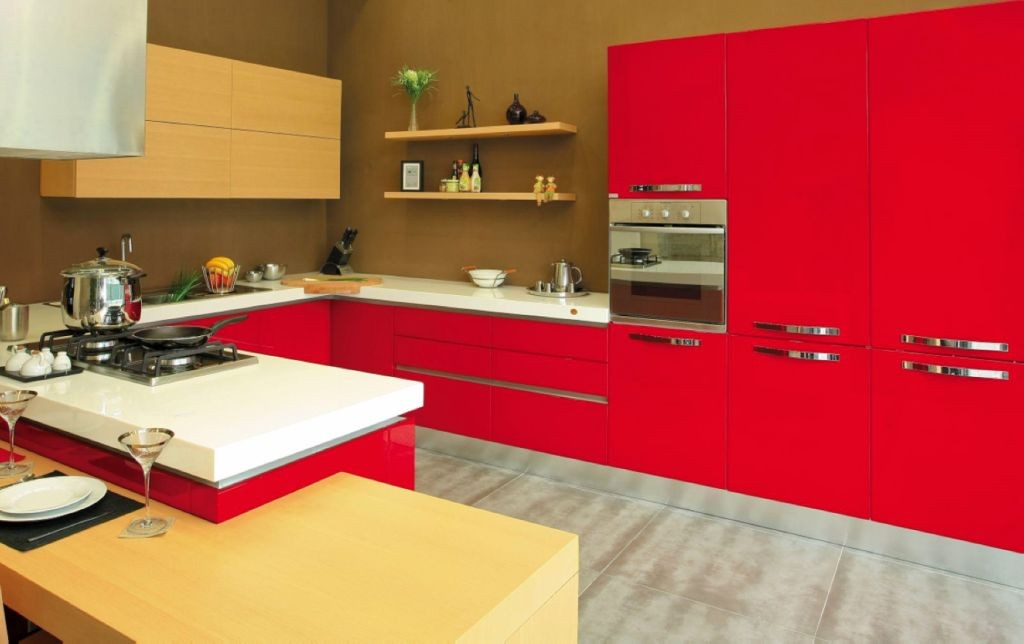 contemporary red lacquer kitchen cabinet