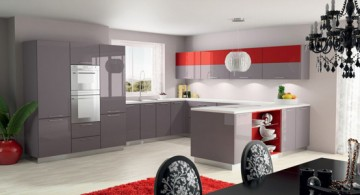 contemporary red lacquer kitchen cabinet in grey and white color scheme