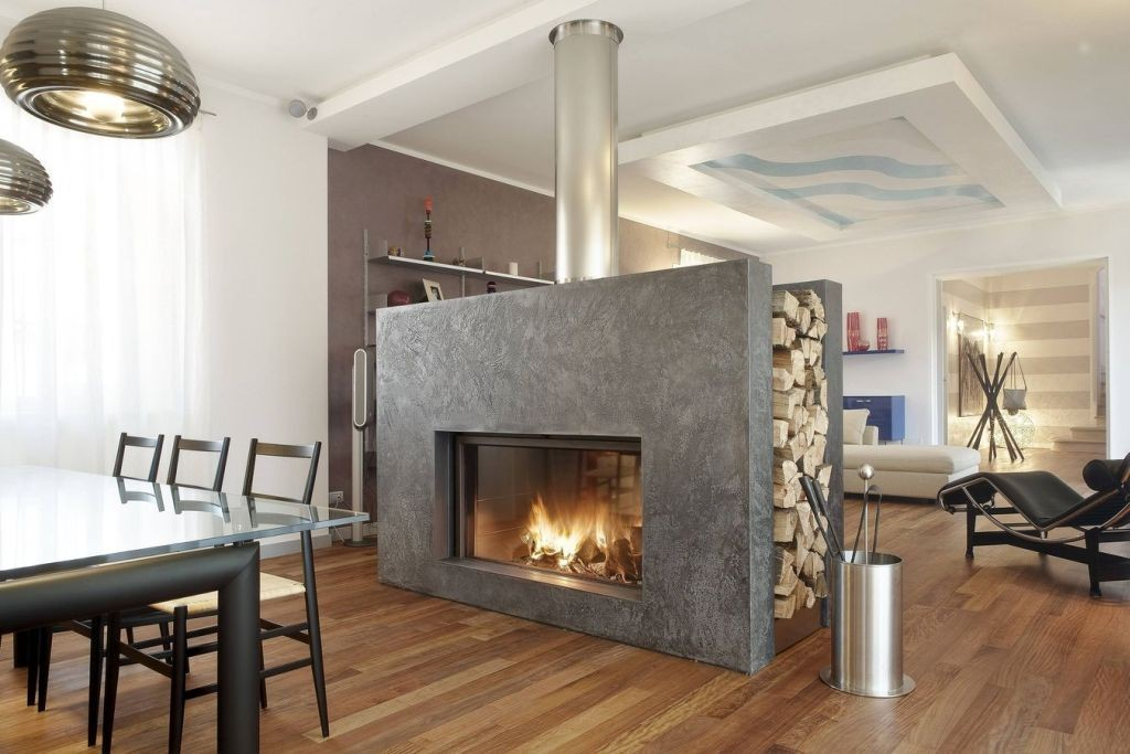 contemporary scandinavian fireplace design ideas that also work as separator