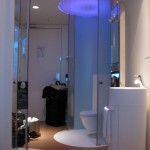 contemporary tiny bathroom design ideas with glass tube doors