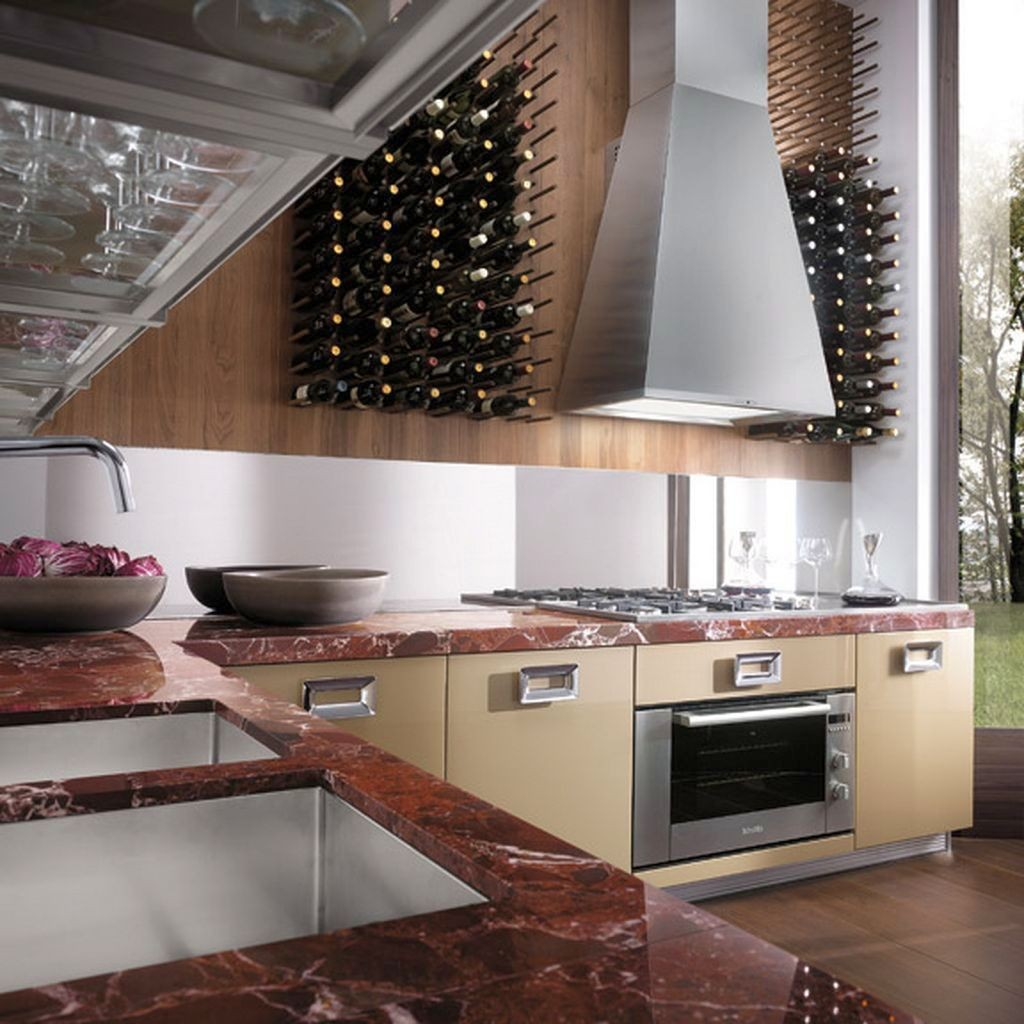 contemporary wine cabinet in the kitchen