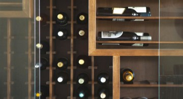 contemporary wine cabinet with unique shelves